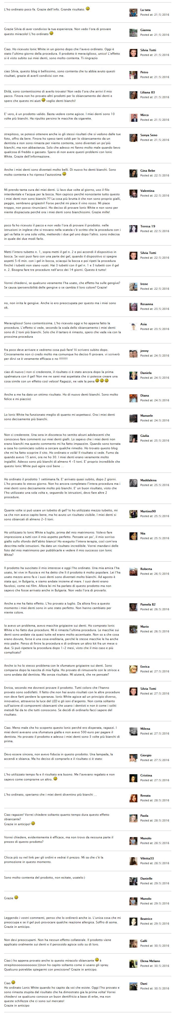 Ionic White™ Testimonianze, commenti, giudizi, opinioni, pareri e recensioni